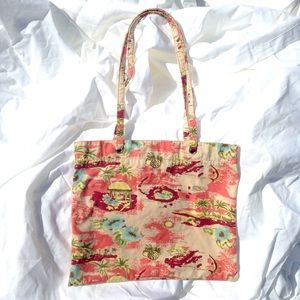 Vintage 90s Bag With Tropical Print, Small Tote